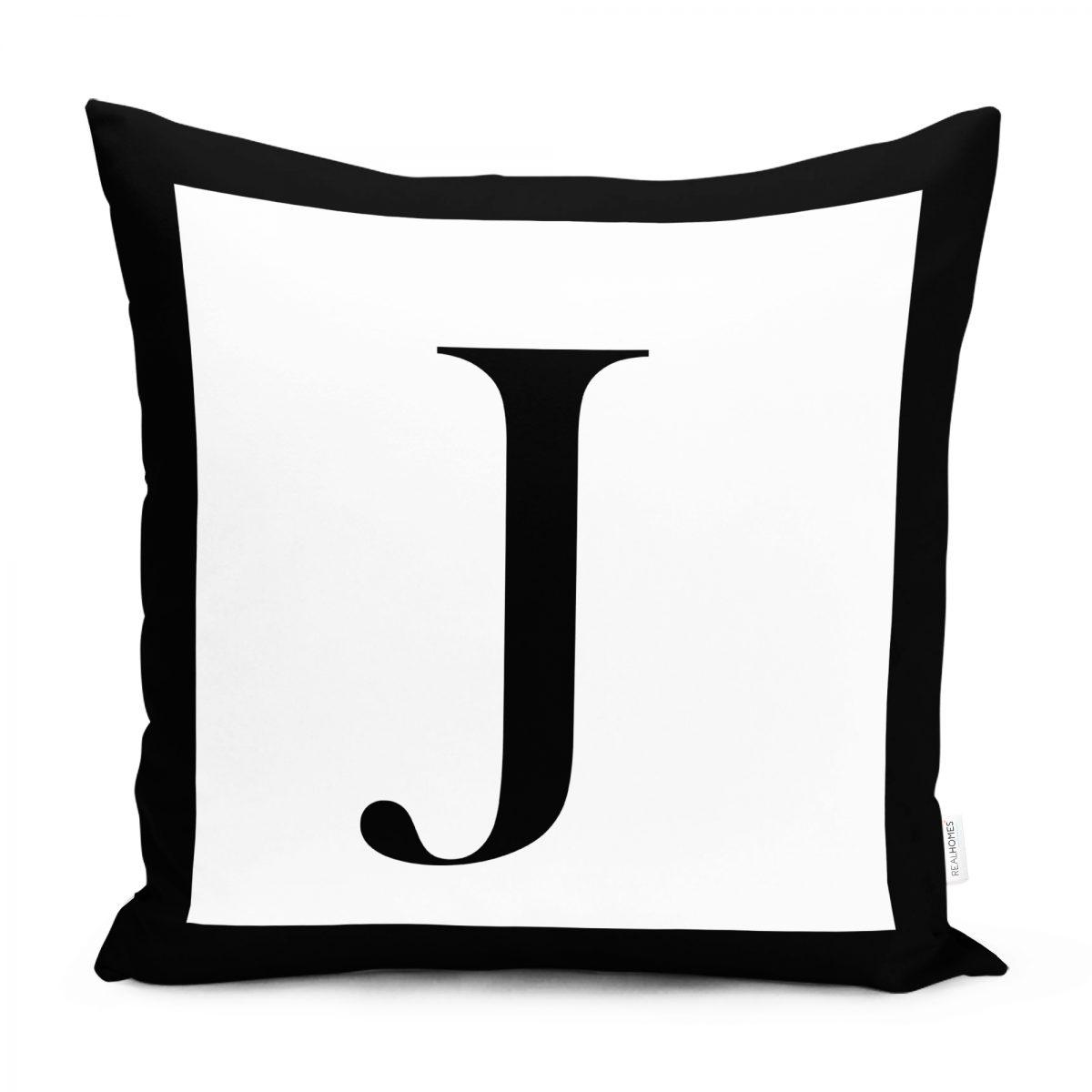 RealHomes Siyah Beyaz J Harfli Yastık Kırlent Kılıfı Realhomes