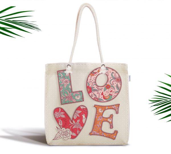 Aşk Temalı Dijital Baskılı Fermuarlı Modern Tasarım Kumaş Çanta Realhomes