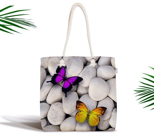 Kelebek Desenli Dijital Baskılı Fermuarlı Modern Kumaş Çanta Realhomes