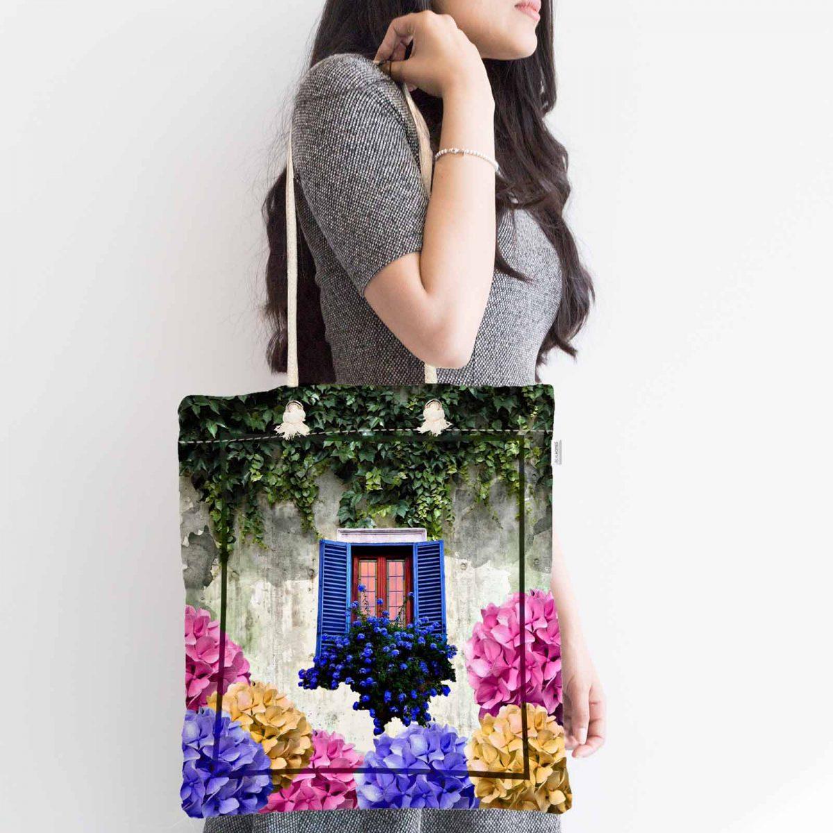 Çiçek Penceresi Dijital Baskılı Modern Fermuarlı Kumaş Çanta Realhomes
