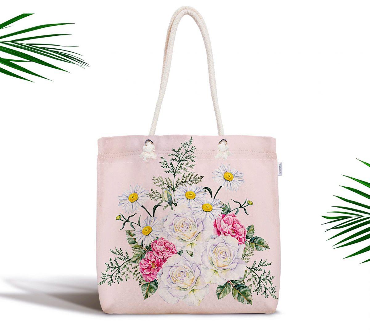 Çiçek Desenli Dijital Baskılı Fermuarlı Modern Kumaş Çanta Realhomes