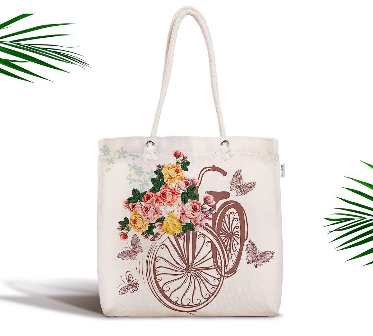 Bisiklet Desenli Dijital Baskılı Fermuarlı Modern Kumaş Çanta Realhomes