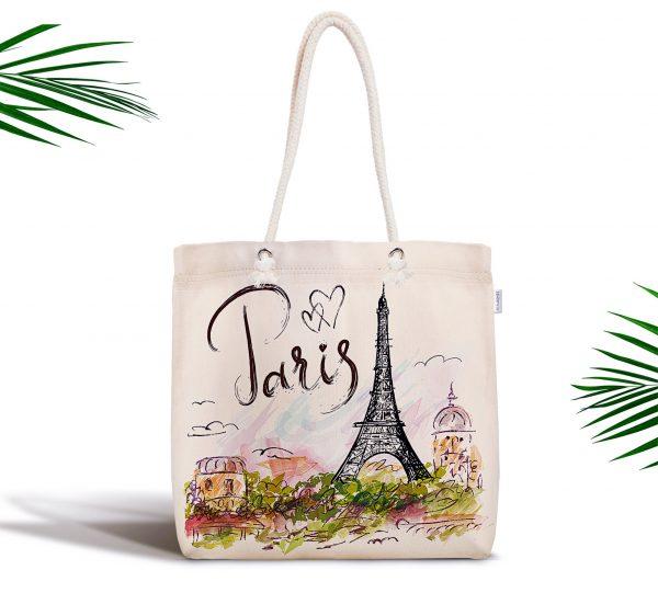 Paris Çizimli Modern Tasarımlı Dijital Baskılı Fermuarlı Kumaş Çanta Realhomes