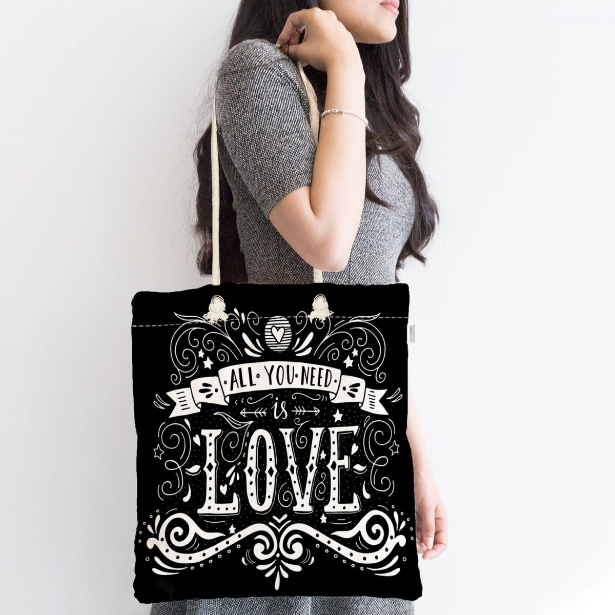 Siyah Love Baskılı Fermuarlı Modern Kumaş Çanta Realhomes