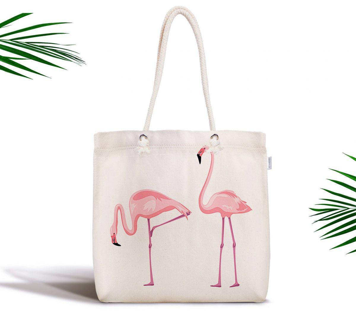 Pembe Flamingo Desenli Dijital Baskılı Fermuarlı Kumaş Çanta Realhomes