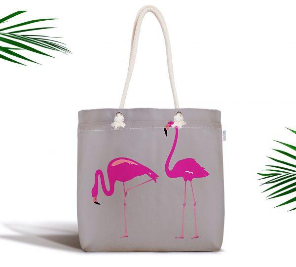 Gri Zemin Flamingo Desenli Dijital Fermuarlı Kumaş Çanta Realhomes
