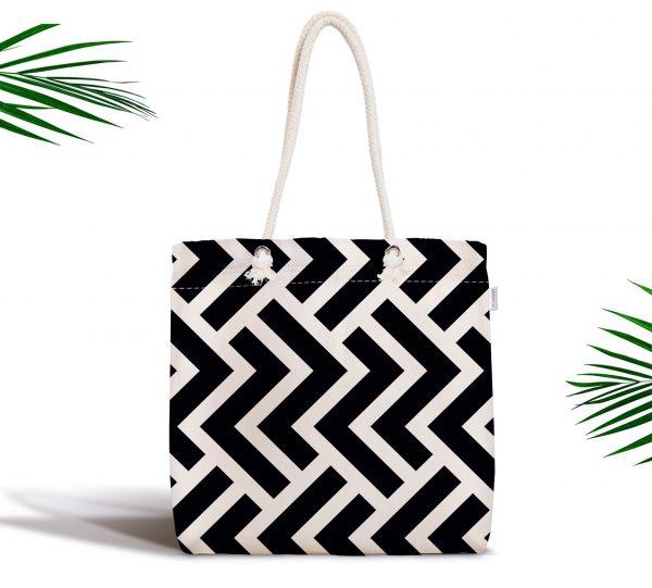 Siyah Beyaz Geometrik Desenli Dijital Fermuarlı Kumaş Çanta Realhomes