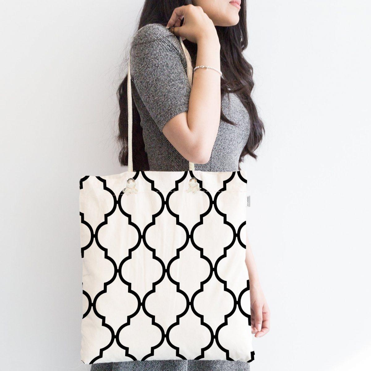 Siyah Beyaz Ogea Desenli Fermuarlı Modern Kumaş Çanta Realhomes