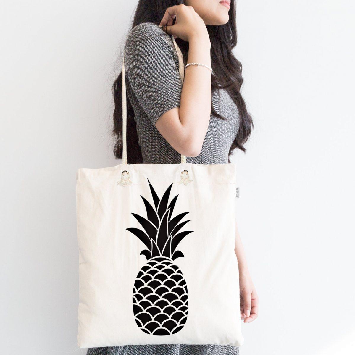 Siyah Beyaz Ananas Baskılı Fermuarlı Modern Kumaş Çanta Realhomes