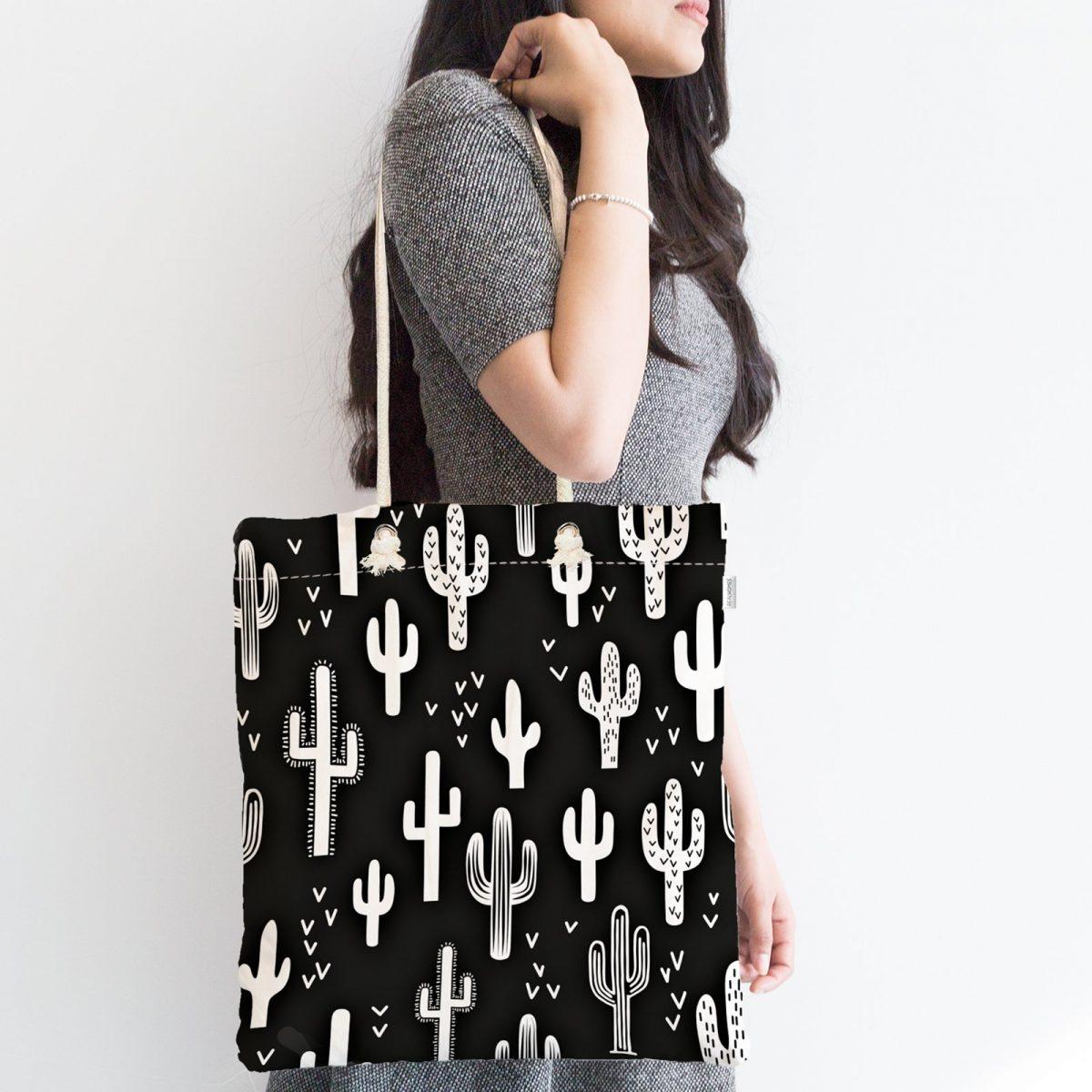Siyah Beyaz Kaktüs Temalı Özel Tasarım Fermuarlı Kumaş Çanta Realhomes