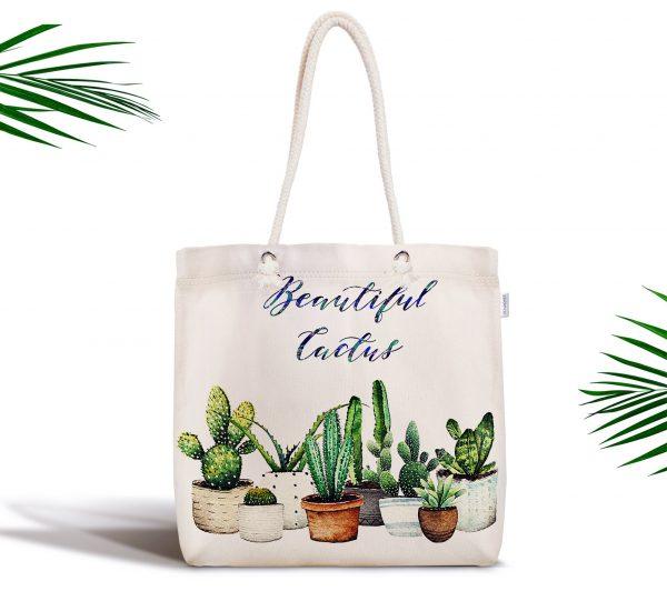 Beautiful Cactus Desenli Dijital Baskılı Fermuarlı Kumaş Çanta Realhomes