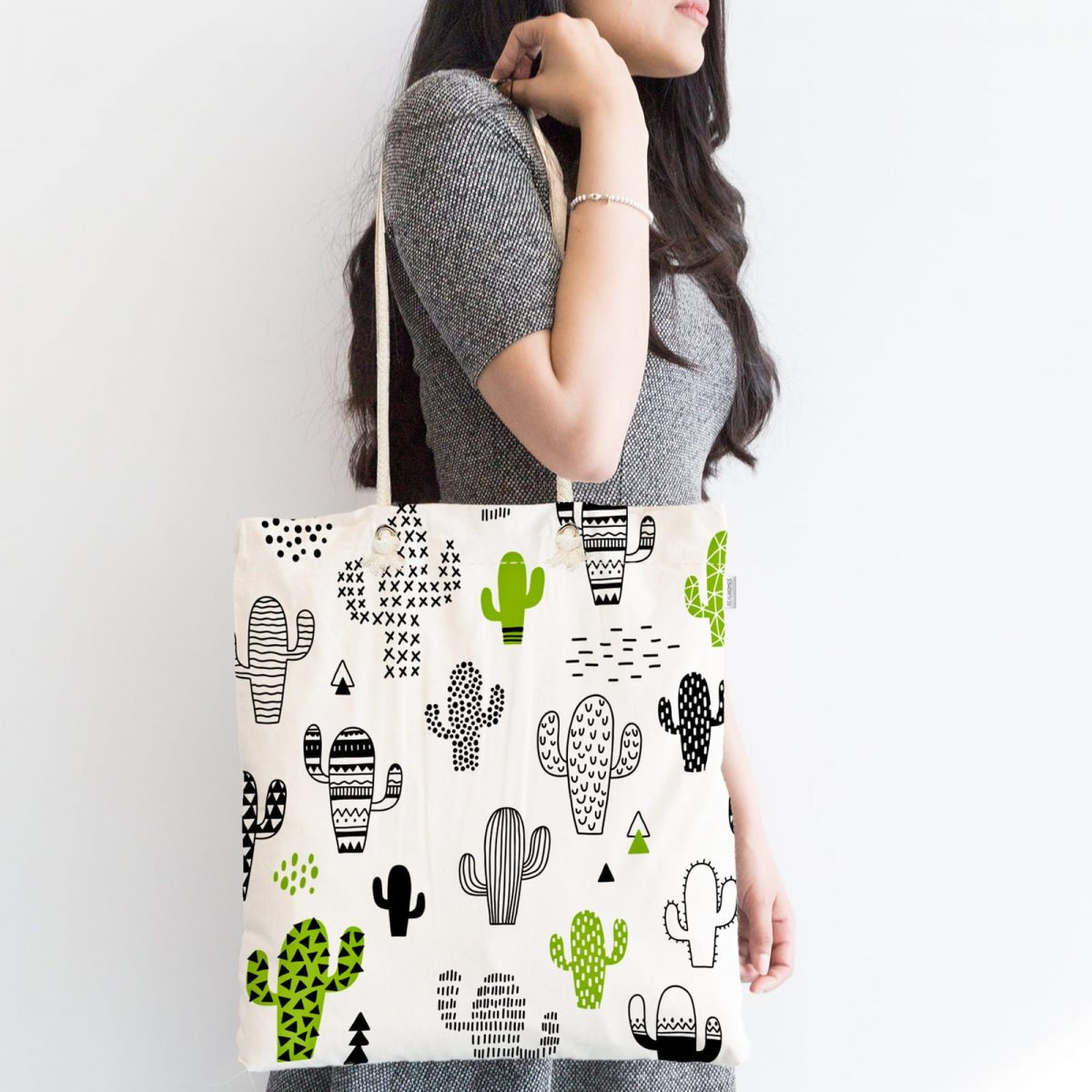 Kaktüs Desenli Özel Tasarım Fermuarlı Kumaş Çanta Realhomes