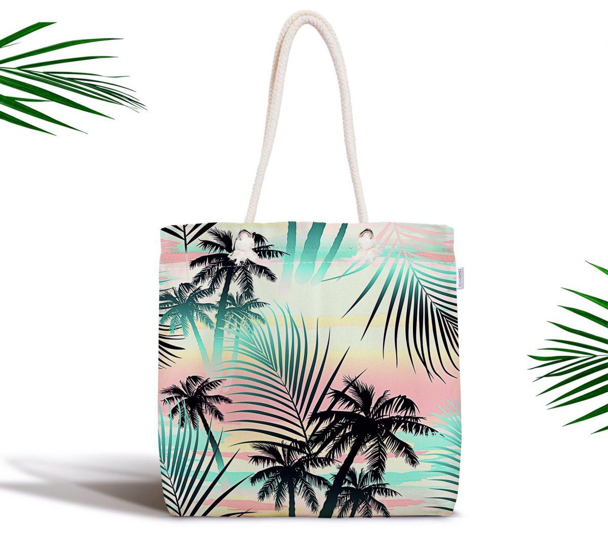 Palmiye Yaprakları Özel Tasarım Fermuarlı Kumaş Çanta Realhomes