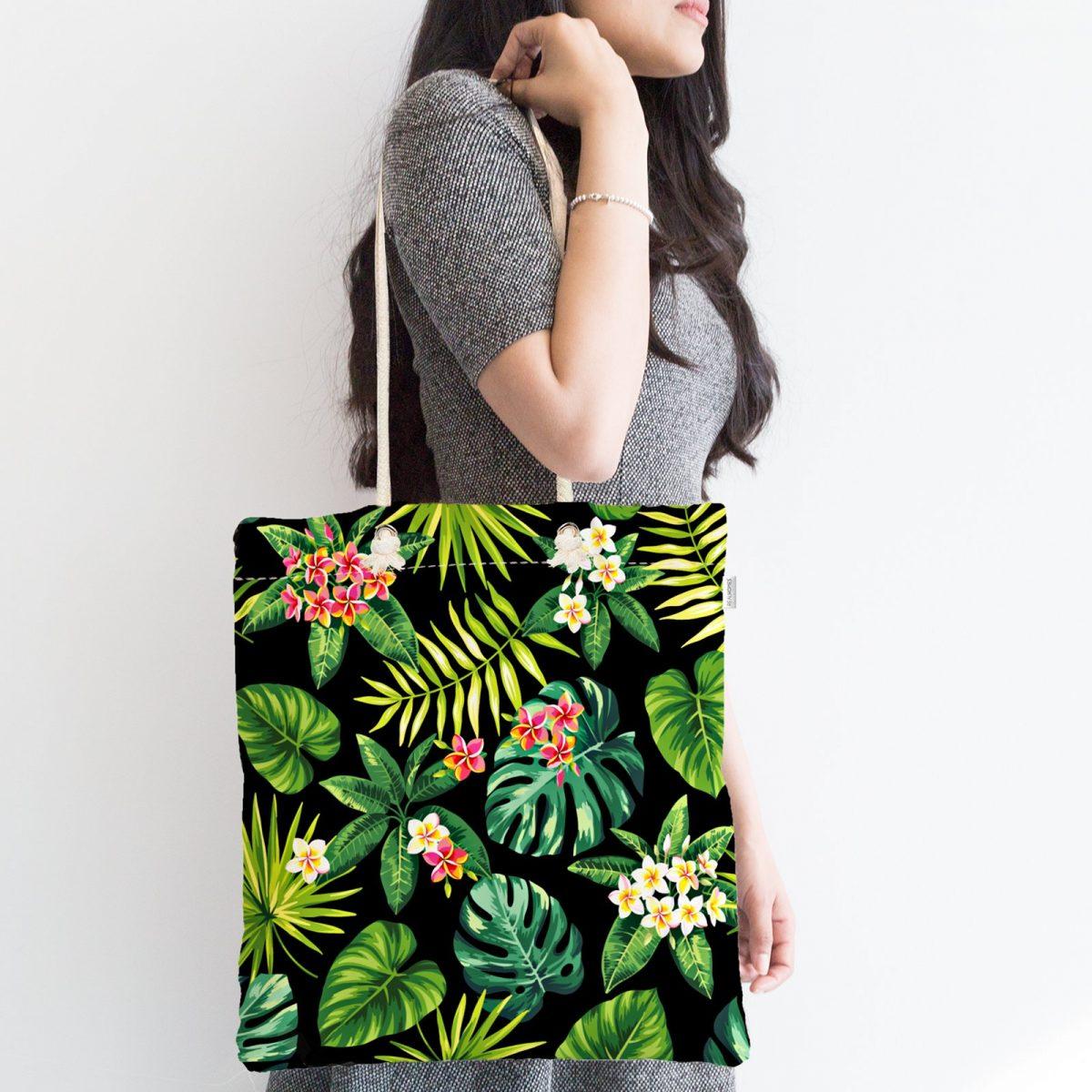 Siyah Zemin Yapraklar Özel Tasarım Fermuarlı Kumaş Çanta Realhomes