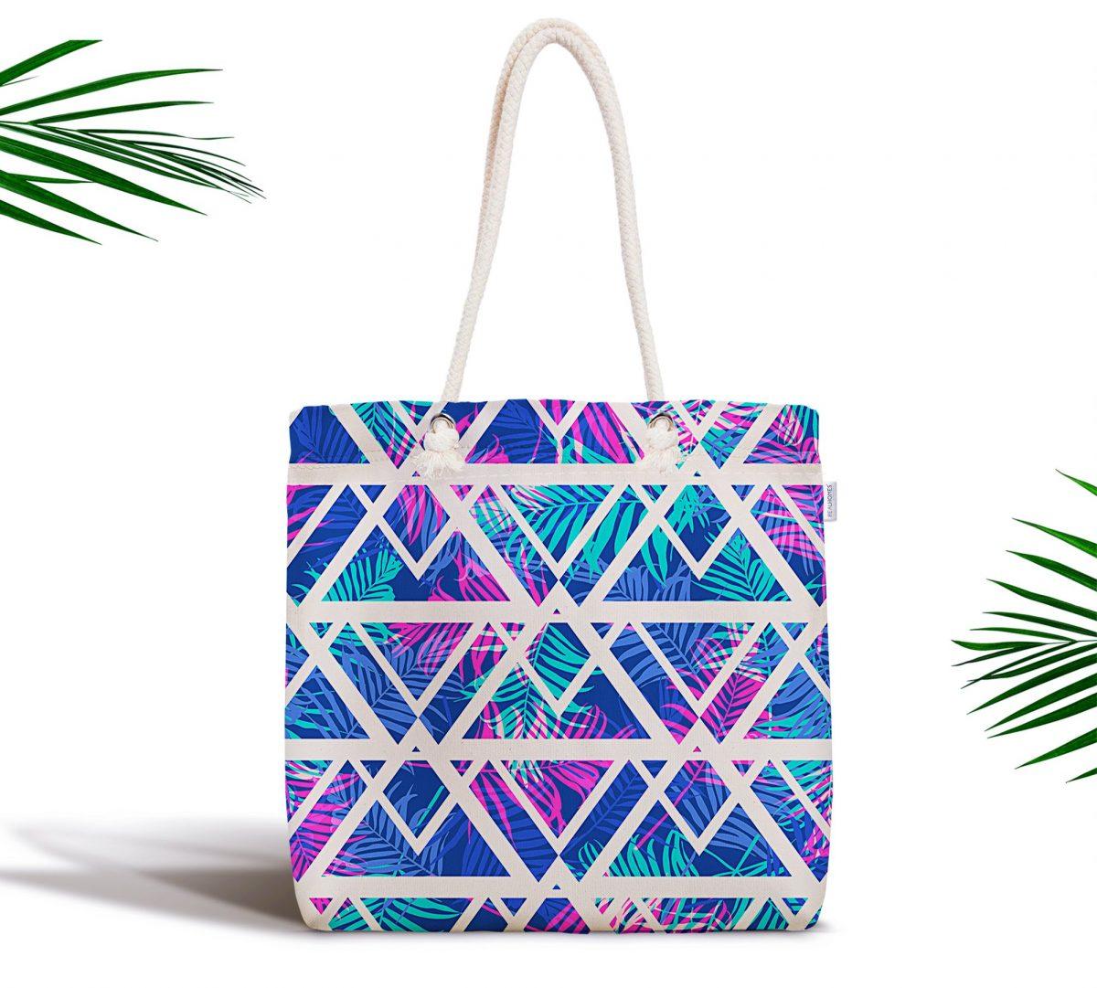 Palmiye Zigzag Desen Dijital Baskılı Fermuarlı Kumaş Çanta Realhomes