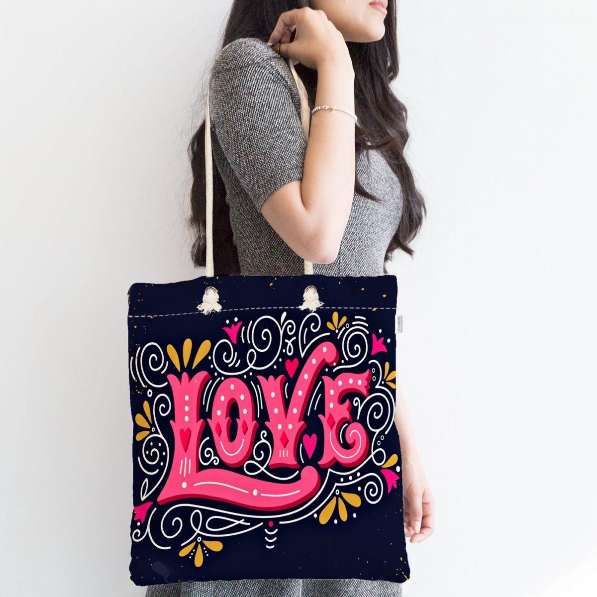 Renkli Love Baskılı Dijital Baskılı Modern Fermuarlı Kumaş Çanta Realhomes