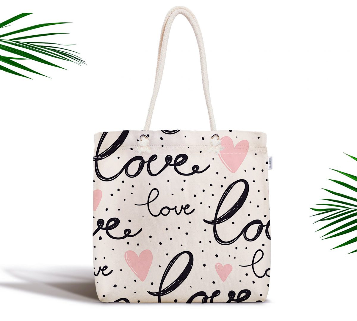 Love Baskılı Pembe Kalpli Fermuarlı Modern Kumaş Çanta Realhomes