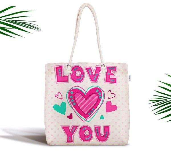 Puanlı Love You Baskıılı Dijital Baskılı Fermuarlı Kumaş Çanta Realhomes