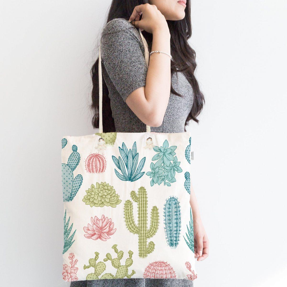 Kaktüs Desenli Renkli Modern Fermuarlı Kumaş Çanta Realhomes