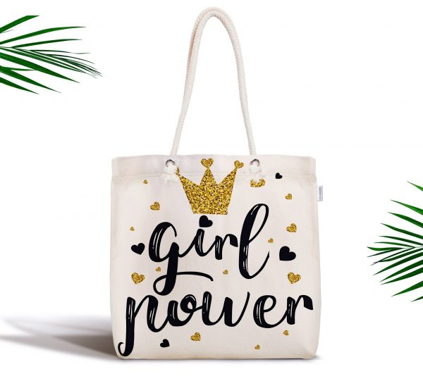 Girl Power Yazı Desenli Dijital Baskılı Fermuarlı Kumaş Çanta Realhomes