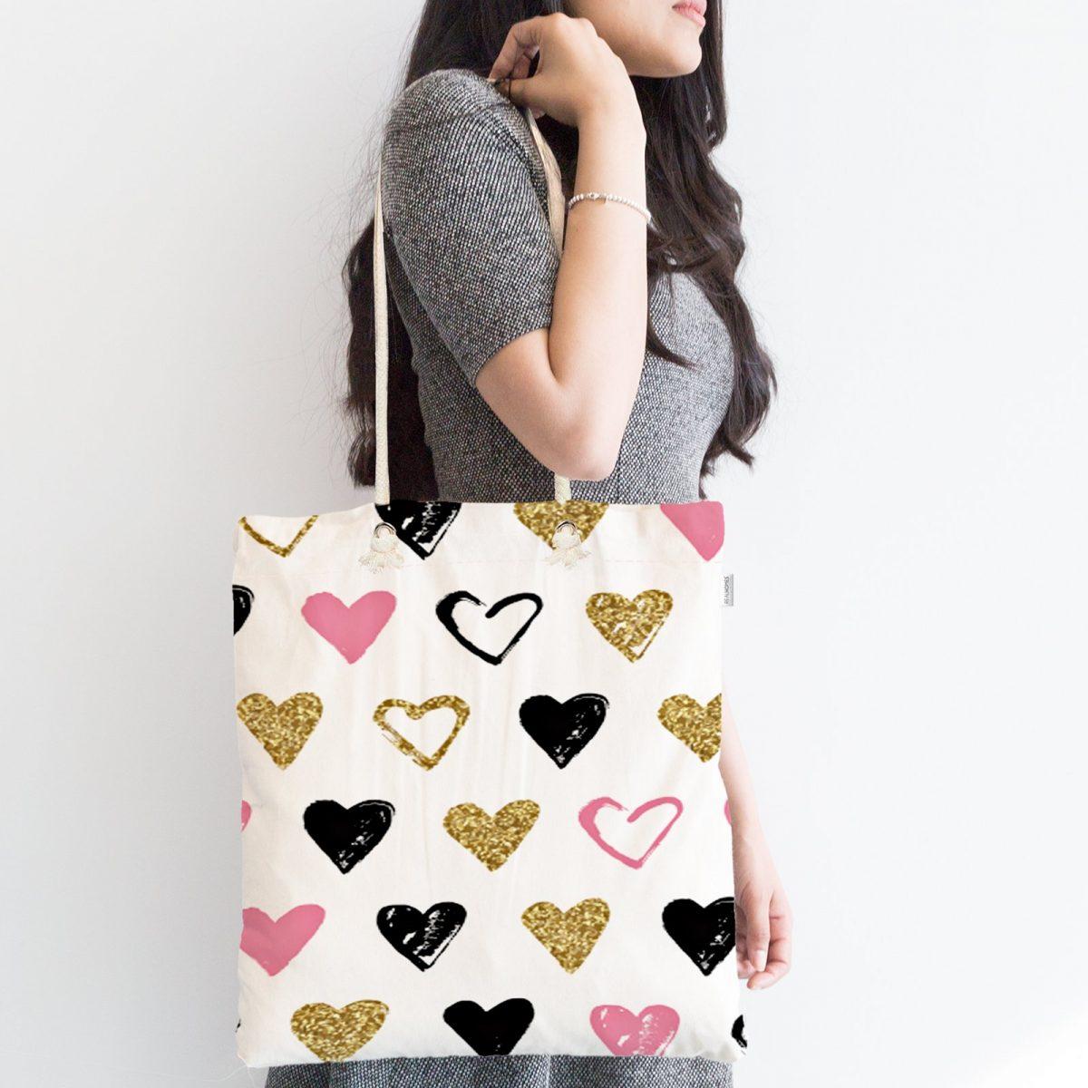 Renkli Kalp Desenli Dijital Baskılı Fermuarlı Kumaş Çanta Realhomes