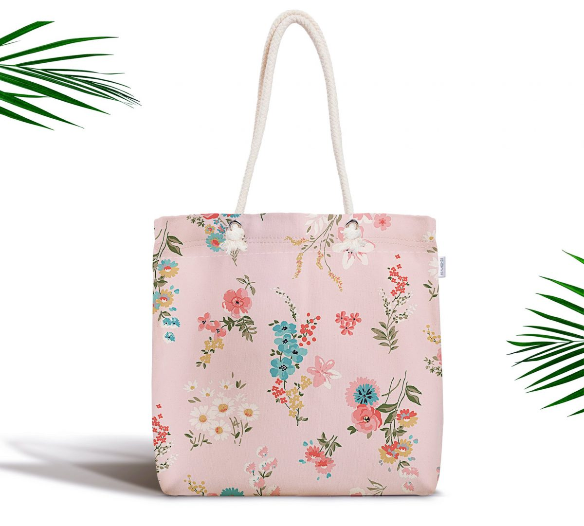 Pembe Zeminli Çiçek Desenli Modern Fermuarlı Kumaş Çanta Realhomes