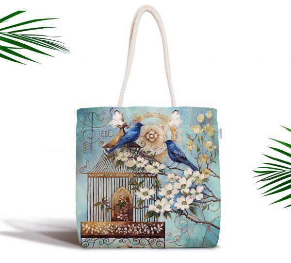Mavi Kuş Desen Dijital Baskılı Fermuarlı Modern Kumaş Çanta Realhomes