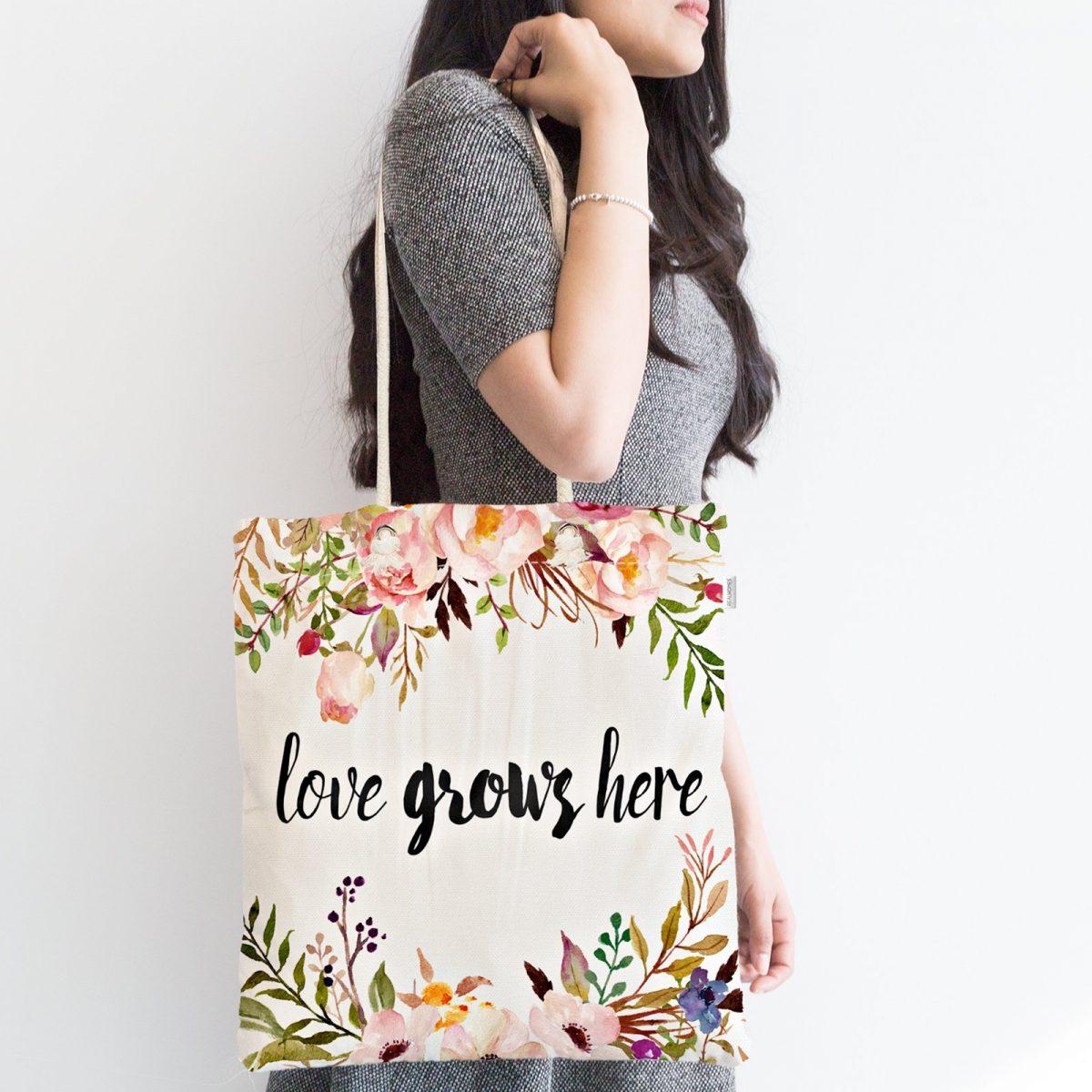 Love Grows Here Yazılı Dijital Baskılı Fermuarlı Kumaş Çanta Realhomes