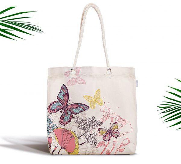Özel Tasarım Renkli Kelebek Desenli Dijital Baskılı Fermuarlı Kumaş Çanta Realhomes
