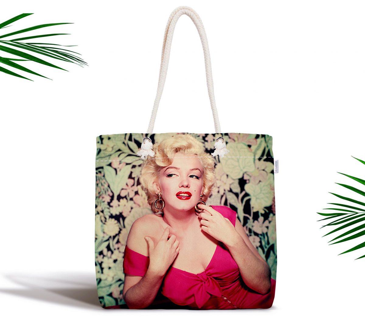 Marilyn Monroe Renkli Dijital Baskılı Fermuarlı Kumaş Çanta Realhomes