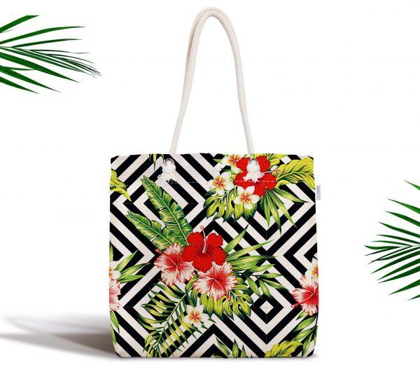 Geometrik Zeminde Çiçek Desenli Fermuarlı Kumaş Çanta Realhomes
