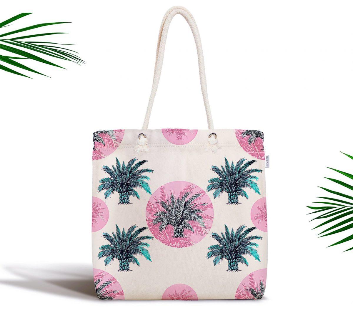 Puanlı Palmiye Desenli Fermuarlı Modern Kumaş Çanta Realhomes