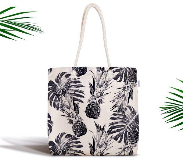 Ananas ve Palmiye Yaprakları Fermuarlı Modern Kumaş Çanta Realhomes