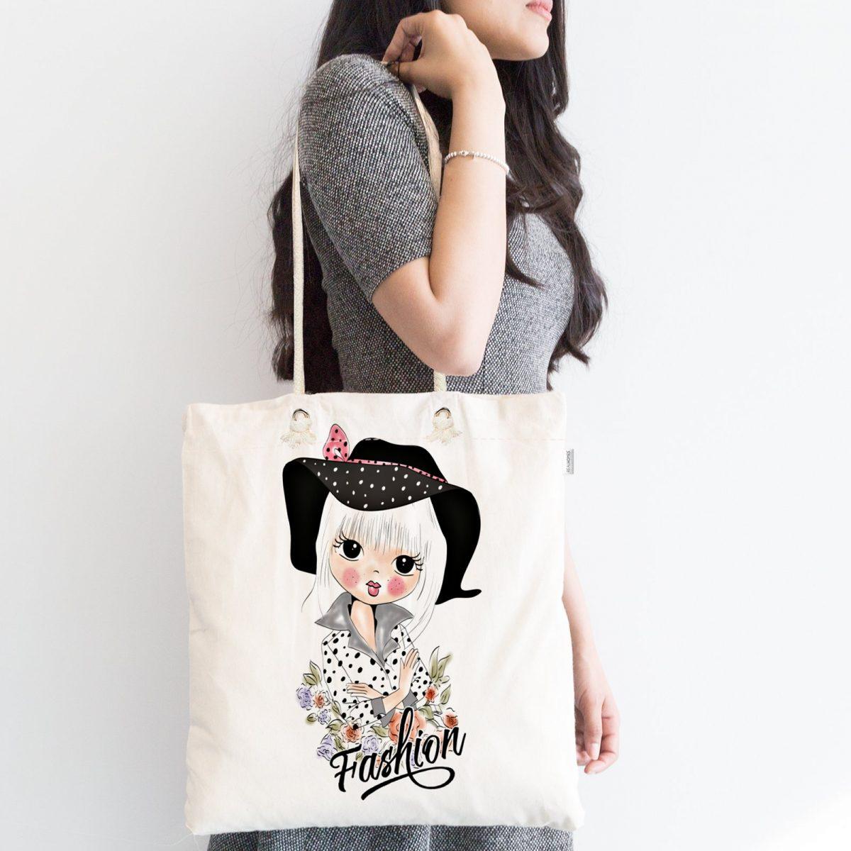 Fashion Girl Dijital Baskılı Fermuarlı Kumaş Çanta Realhomes