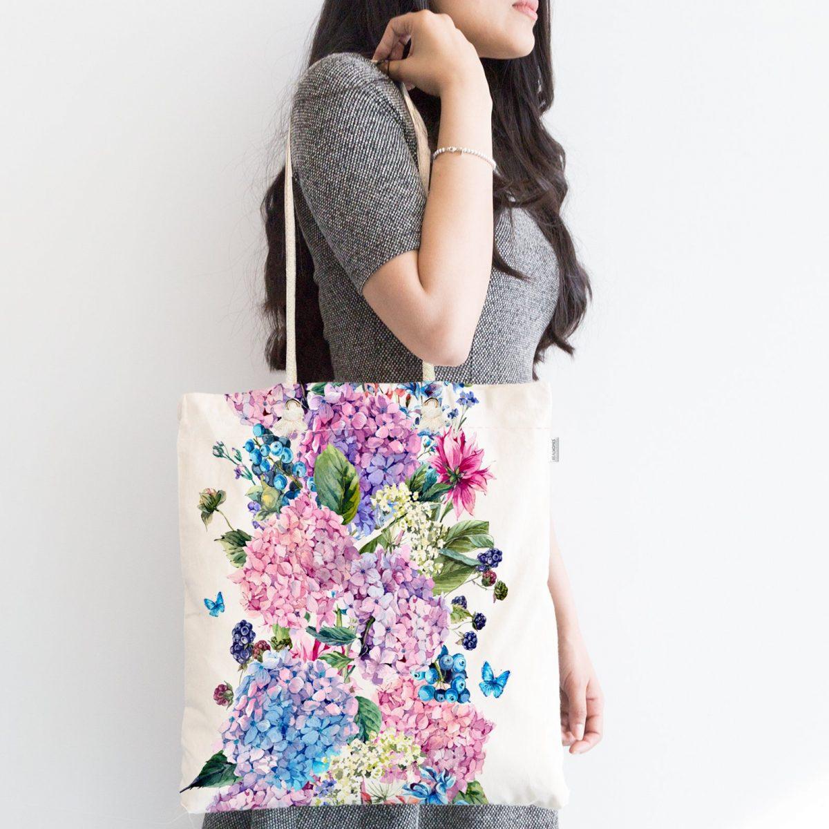 Lila Renk Salkım Zambak Desenli Dijital Baskılı Fermuarlı Kumaş Çanta Realhomes