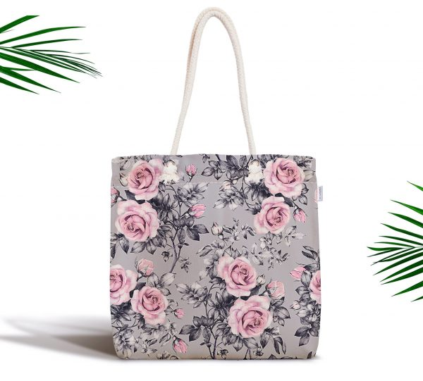 Füme Temalı Kavaniçe Çiçek Motifli Dijital Baskılı Fermuarlı Kumaş Çanta Realhomes