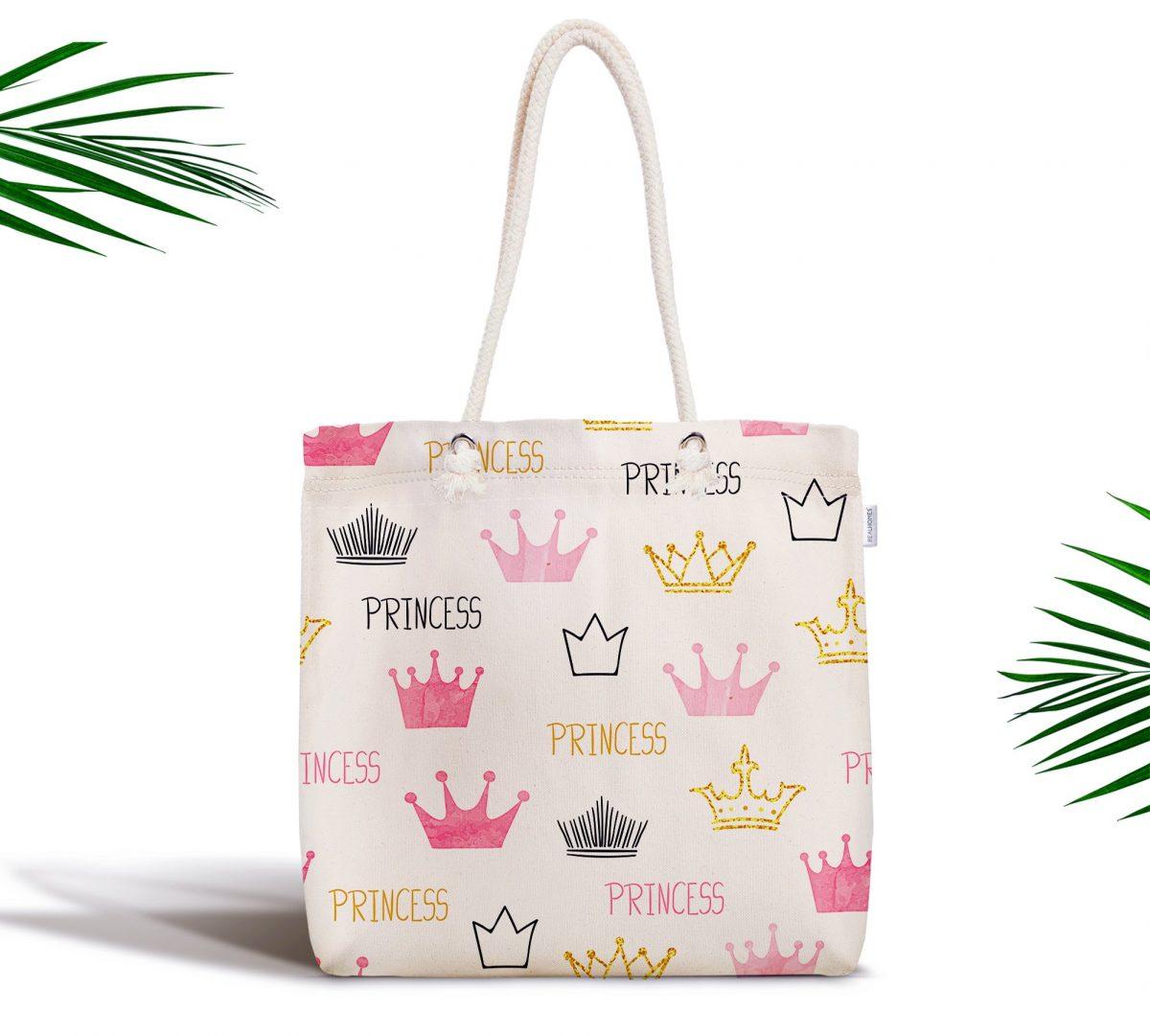 Pudra Renk Prenses Taç Motifli Dijital Baskılı Fermuarlı Kumaş Çanta Realhomes