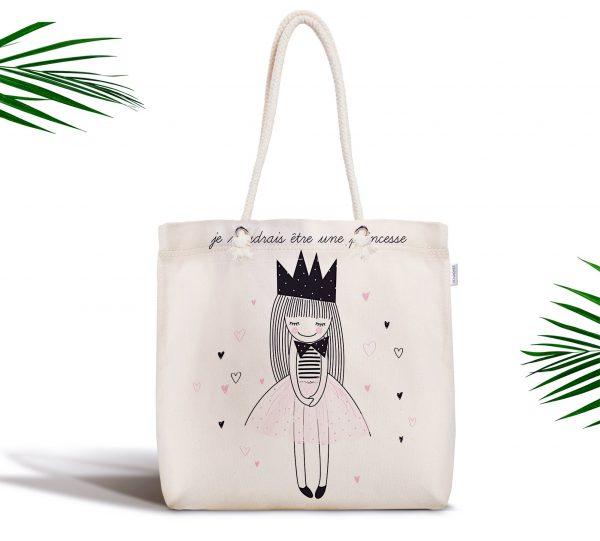 Je Noudrais Etre Une Princesse Baskılı Fermuarlı Modern Kumaş Çanta Realhomes