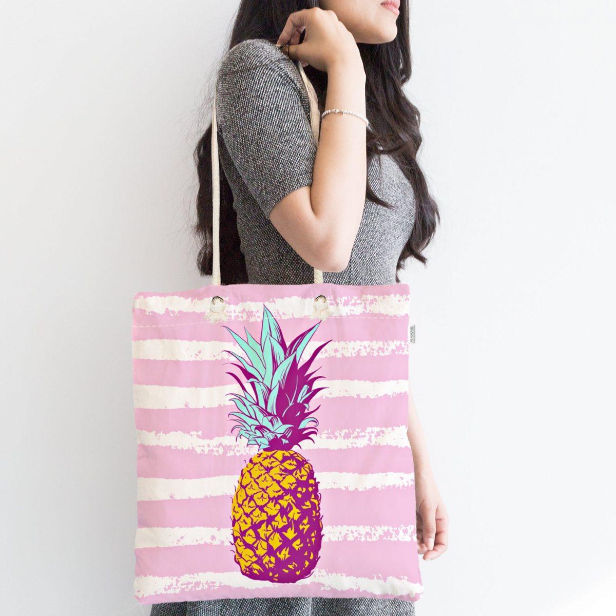 Canlı Renkli Ananas Motifli Dijital Baskılı Fermuarlı Kumaş Çanta Realhomes