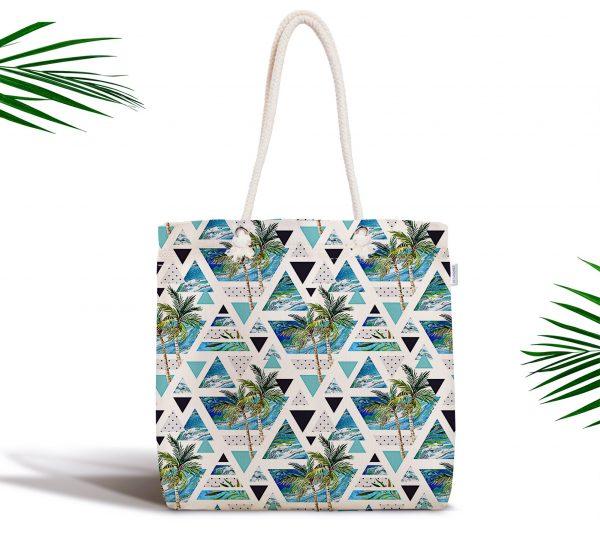 Mavi Geometrik Palmiye Desenleri Fermuarlı Kumaş Çanta Realhomes