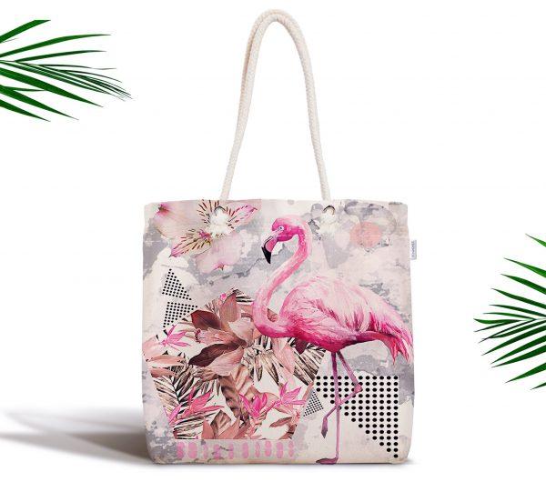 Pudra Çizgi Desenli Flamingo BAskılı Fermuarlı Modern Kumaş Çanta Realhomes