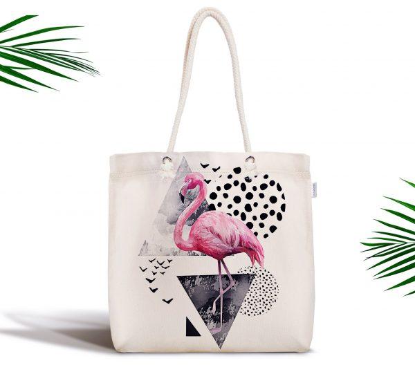 Martı Desenli Flamingo Temalı Dijital Baskılı Fermuarlı Kumaş Çanta Realhomes