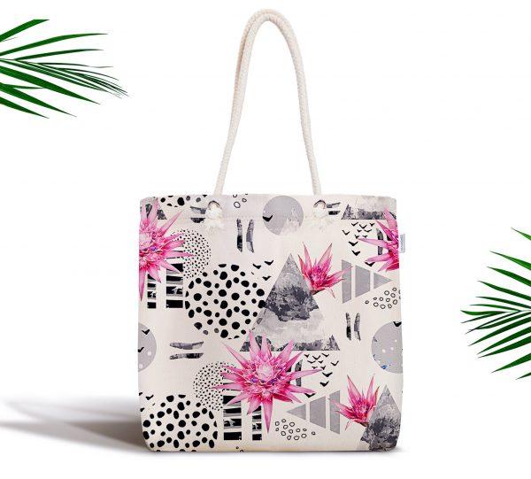 Bal Peteği Temalı Nilüfer Çiçeği Motifli Fermuarlı Kumaş Çanta Realhomes