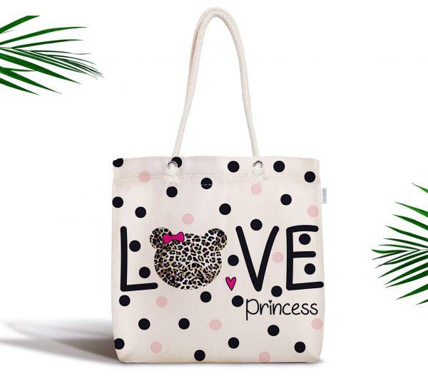 Love Princess Motifli Dijital Baskılı Fermuarlı Kumaş Çanta Realhomes