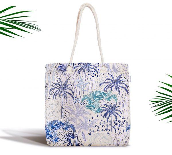 Beyaz Temalı Palmiye Adası Dijital Baskılı Fermuarlı Kumaş Çanta Realhomes