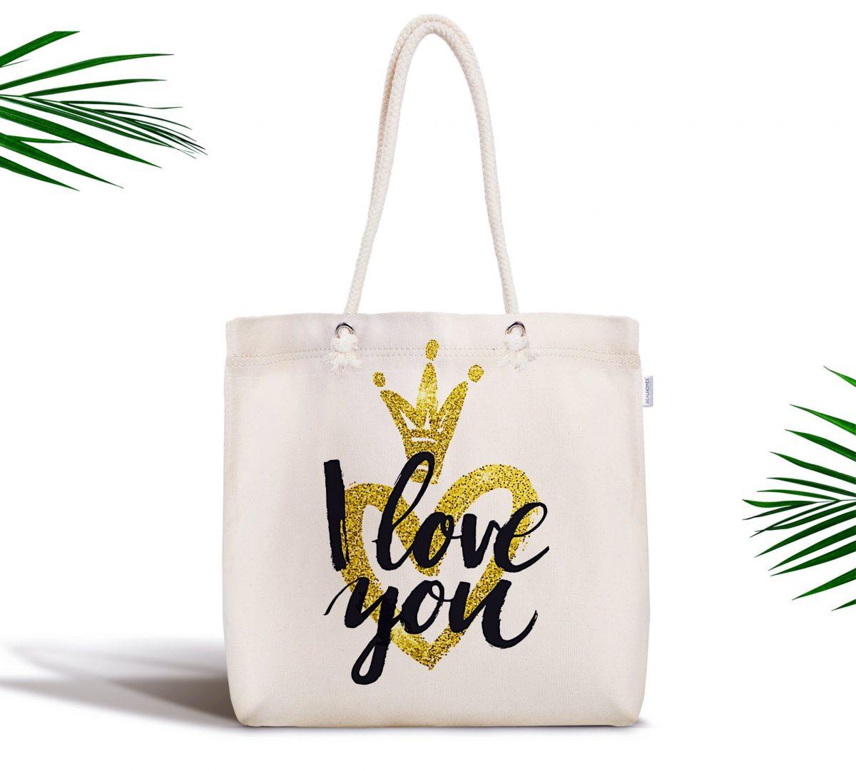 I Love You Motifli Dijital Baskılı Fermuarlı Kumaş Çanta Realhomes