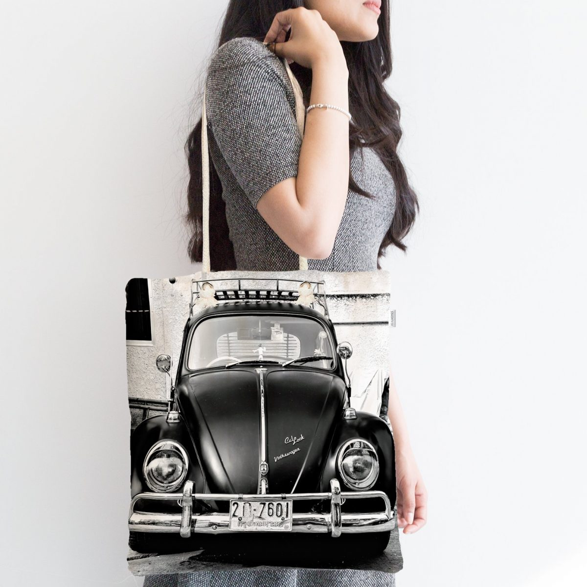 Vosvos Resimli Dijital Baskılı Fermuarlı Modern Kumaş Çanta Realhomes