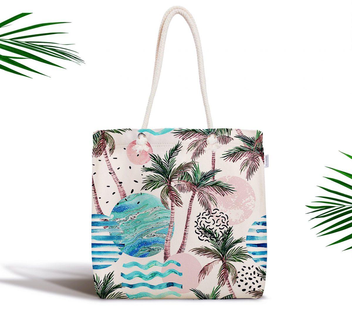 Palmiye Desenli Gezegen Baskılı Dijital Baskılı Fermuarlı Kumaş Çanta Realhomes