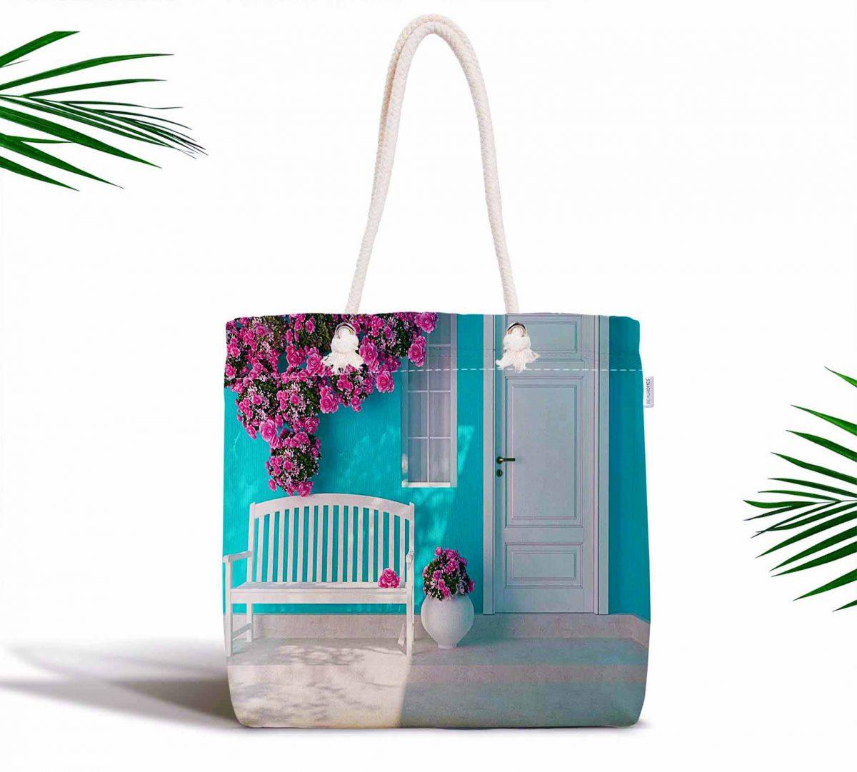 Mavi Bahçe Dijital Baskılı Fermuarlı Modern Kumaş Çanta Realhomes
