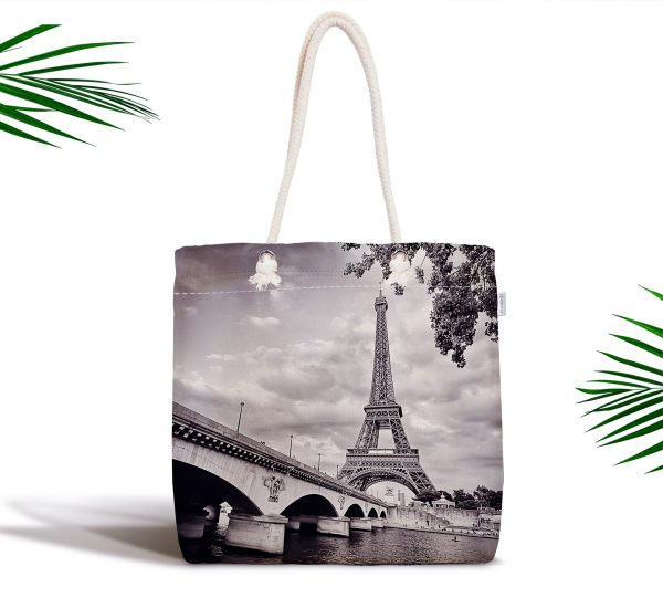 Siyah Beyaz Paris Tasarımlı Dijital Baskılı Fermuarlı Bez Çanta Realhomes